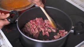 Жарящ мясо дома видеоматериал