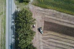 Жатка жмет урожай в поле рядом с зеленым полем с мозолью Украина вид с воздуха Стоковое Изображение