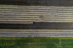 Жатка жмет урожай в поле рядом с зеленым полем с мозолью Украина вид с воздуха Стоковые Изображения