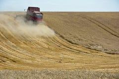 Жатка зернокомбайна жать пшеничное поле стоковая фотография rf