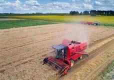 Жатка зернокомбайна работая в пшеничном поле Стоковое Фото