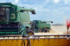 Жатки зернокомбайнов работая на пшеничном поле Стоковые Фото