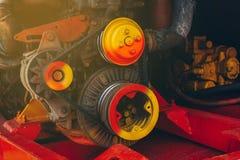 Жатки комбайна механизма двигателя стоковое фото