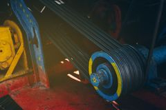 Жатки комбайна механизма двигателя стоковые фотографии rf