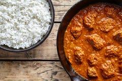 Жалуйтесь еда овечки медленного кашевара карри Мадраса индийская пряная с рисом в лотке литого железа Стоковое Изображение