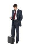 ждать детенышей бизнесмена красивых стоковая фотография rf