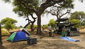 Ждать обедающий в лагере сафари стоковые фотографии rf