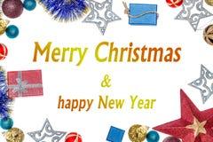Желания на рождество и Новый Год Предпосылка рождества с орнаментами и подарками Стоковые Изображения RF