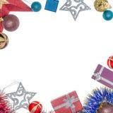 Желания на рождество и Новый Год Предпосылка рождества с орнаментами и подарками Стоковая Фотография RF