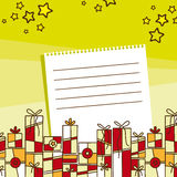 Желания праздника с иллюстрацией подарков Иллюстрация вектора
