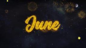 Желания текста в июне показывают от поздравительной открытки частиц фейерверка сток-видео