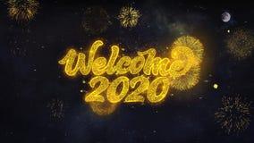 Желания текста добро пожаловать 2020 показывают от поздравительной открытки частиц фейерверка иллюстрация штока