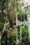 Железная винтовая лестница с поручнем и столбец поднимают вверх amongs Стоковые Изображения