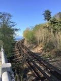 Железная дорога вдоль звука Puget стоковая фотография rf