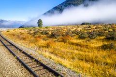 Железная дорога в ландшафте полей горы, Новая Зеландия Стоковые Изображения RF