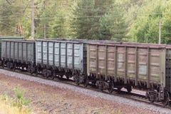 Железная дорога и товарный состав при ржавые железнодорожные фуры идя вдоль леса Transportain, концепции груза Стоковая Фотография