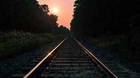 Железная дорога на вырезывании восхода солнца через лес стоковые фото