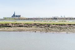 Железная дорога централи стержня Нью-Джерси, США, в портовом районе Гудзона Паром смещает шлюпки сервировки стоковое изображение rf