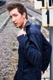 железная дорога человека Стоковые Фото