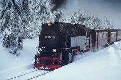 Железная дорога Brocken в ландшафте зимы стоковое фото