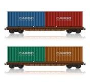 железная дорога flatcars грузовых контейнеров Стоковые Фото