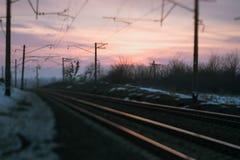 Железнодорожная концепция вечера дороги Стоковые Изображения