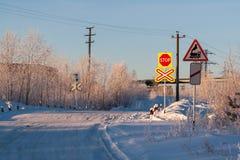 Железнодорожное скрещивание в зиме стоковая фотография