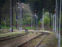 Железнодорожные пути, свет и знаки, рельсы и зеленая трава Стоковые Изображения RF