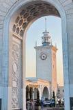 Железнодорожный вокзал Симферепола Башня часов станции железной дороги Симферепол стоковые фото