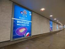 железнодорожный вокзал 2012 евро знамени warsaw Стоковые Фотографии RF