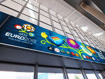 железнодорожный вокзал 2012 евро знамени warsaw Стоковое фото RF