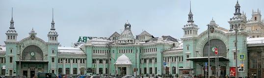 Железнодорожный вокзал Belorussky Зима, снежный день Стоковая Фотография