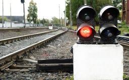 железнодорожный красный стоп сигнала Стоковое фото RF