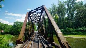 Железнодорожный мост ферменной конструкции в северной части штата Нью-Йорке Стоковое Изображение RF