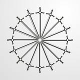 Железные шпаги сложенные в круге также вектор иллюстрации притяжки corel Стоковые Фотографии RF