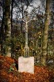 Железный крест в autum, древесина n Стоковая Фотография