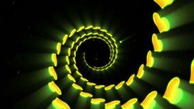 Желтая анимация петли формы сердца Силуэт накаляя неоновые сердца Футуристические современные сердца летая Желтый живой цвет иллюстрация вектора