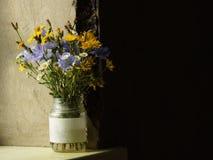 Желтая и голубая стойка цветков луга в опарнике Стоковые Изображения RF