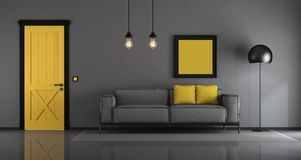 Желтая и серая минималистская живущая комната бесплатная иллюстрация