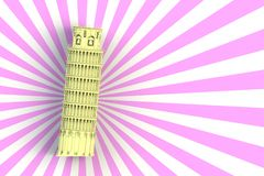 Желтая полагаясь башня Пизы на белой и розовой предпосылке бесплатная иллюстрация
