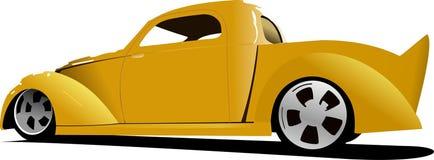 Желтая приемистость автомобиля на дороге иллюстрация штока