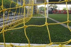 Желтая сеть цели футбола Стоковое Изображение