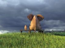 Желтая собака и слон на зеленом поле иллюстрация вектора