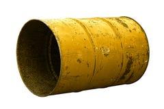 Желтая старая ржавчины масла бочонка изолированная на белой предпосылке Стоковое Изображение RF