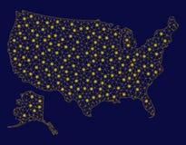 Желтая туша США сетки с картой Аляски со светлыми пятнами иллюстрация штока