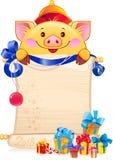 Желтая Earthy свинья символ нового 2019 год иллюстрация вектора
