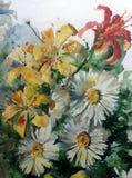 Желтого цвета лета природы предпосылки искусства акварели сад весны ветви цветения букета lilyes стоцвета белого цветка красочног Стоковые Фото