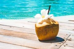 Желтое большое coctail воды кокоса Стоковые Изображения RF
