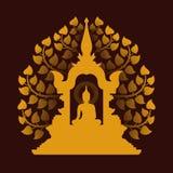 Желтое золото Будда размышляет в дизайне вектора предпосылки купола и дерева Bodhi иллюстрация штока