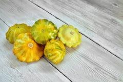 5 желтое и зеленые тыквы куста на белой деревянной предпосылке вышли Концепция сада, земледелия и сельского хозяйства Стоковая Фотография